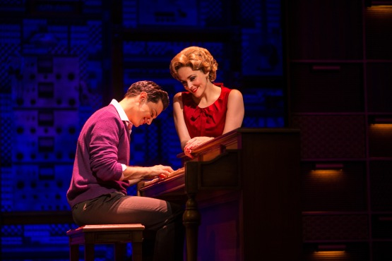 Mat Verevis as Barry Mann and Lucy Maunder as Cynthia Weil in Beautiful The Carole King Musical. Photo by_BEN SYMONS